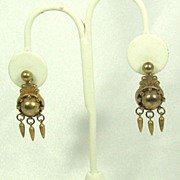 SALE Vintage Gold Tone Metal Dangle Screw Back Earrings