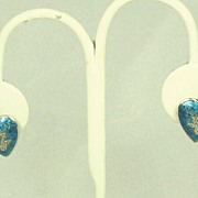 Vintage Sterling and Blue Enamel Siam Dancer Heart Shaped Earrings