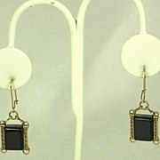 SALE Vintage Pierced Black Lucite Hook Earrings