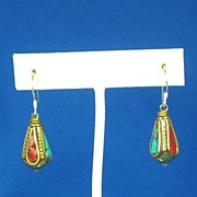 REDUCED Vintage Turquoise and Coral Tibetan Dangle Earrings