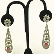 SALE 14kt Gold Diamond Sapphire and Ruby Earrings