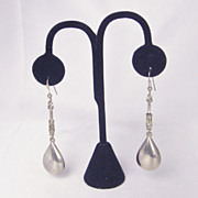 Vintage Silver Metal Tear Shaped Dangle Earrings