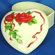 1980s Teleflora Rose and Ribbon Heart Shaped Candy Dish