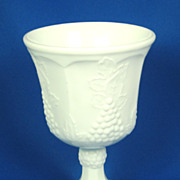Grapes and Leaves Milk Glass Goblet