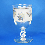 1950s Platinum Trim Glass Leaf Wine Goblet