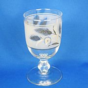 1950s Platinum and Black Trim Glass Wheat Design Goblet