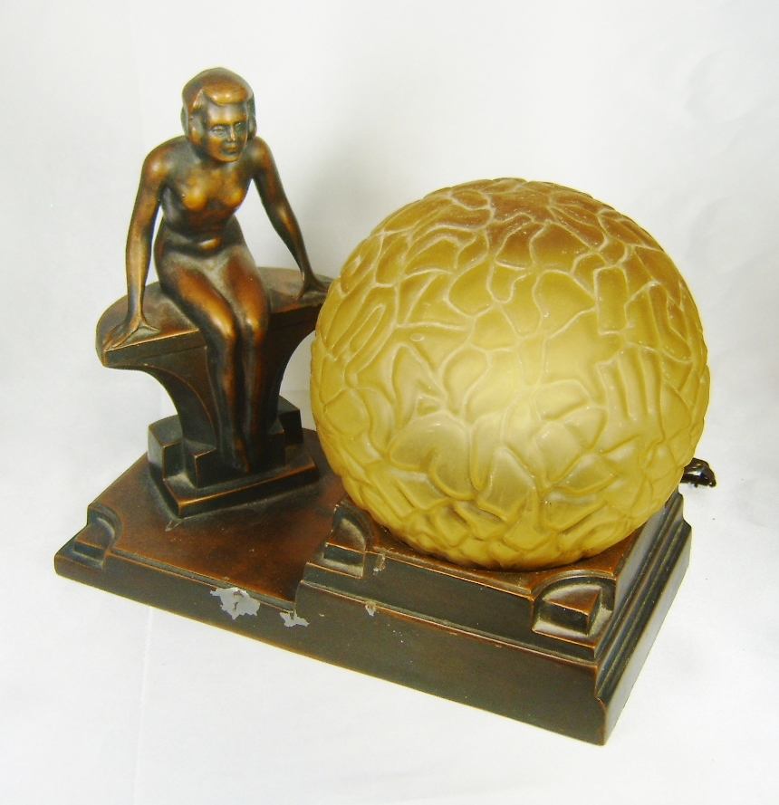 1930s Art Deco NUART Creations Nude Lady Globe Lamp From Judysgems On Ruby Lane