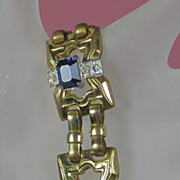 McClelland Barclay Bracelet Sapphire w Gold Tone Metal