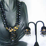 SALE Rare Vintage Eugene Black Glass Necklace and Earrings
