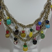 SALE Vintage Czechoslovakian Glass Bead Bauble Charm Necklace