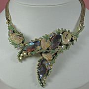 SALE 1950s Har Aurora Borealis Dragon Tooth Pendant Necklace