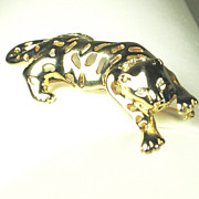 Vintage Gold Tone and White Rhinestone L.R. Feline Pin