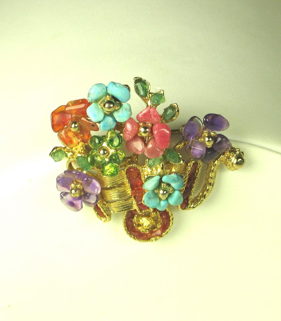 Swoboda Howlite and Genuine Turquoise Flower Cart Pin from judysgems on Ruby Lane