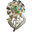 Early Metal Flower Pin with Rhinestone center Gold Tone