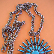 Vintage Faux Turquoise Cabochon Needle point Design Necklace