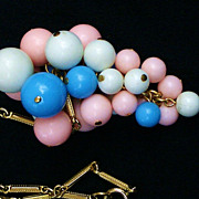 Vintage Bead Cluster Drop Necklace Gold Tone Pink White Blue Colored Beads