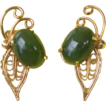 Vintage Gold Tone and Jade Colored Glass Clip Earrings