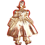 SALE Vintage Marino Dutch Girl Pin Gold Tone
