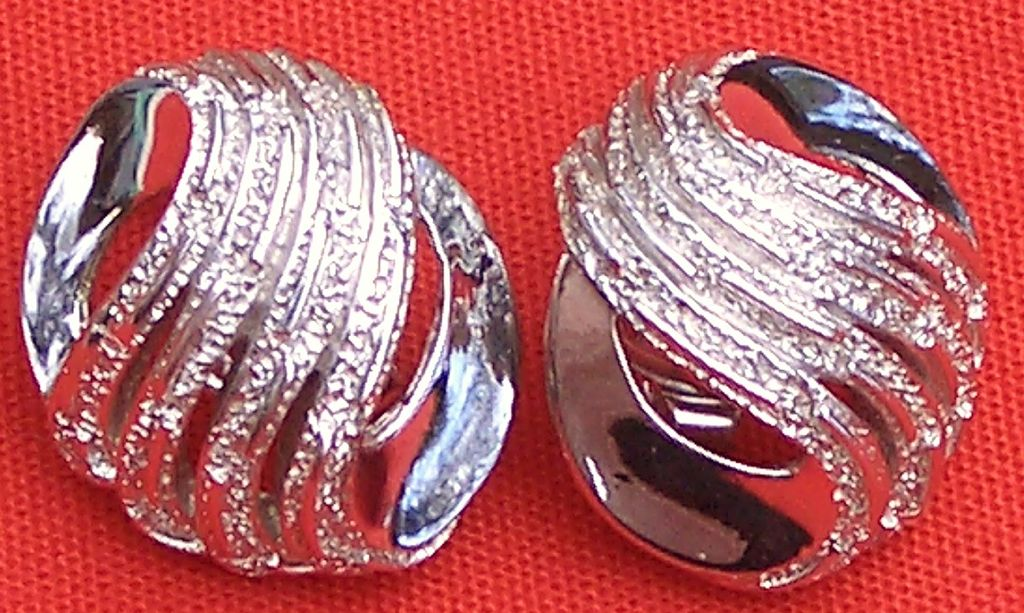 Silver Tone Trifari Crown Earrings Clip style