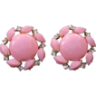 Vintage Pink Plastic Earrings with Clear rhinestones Clip Style