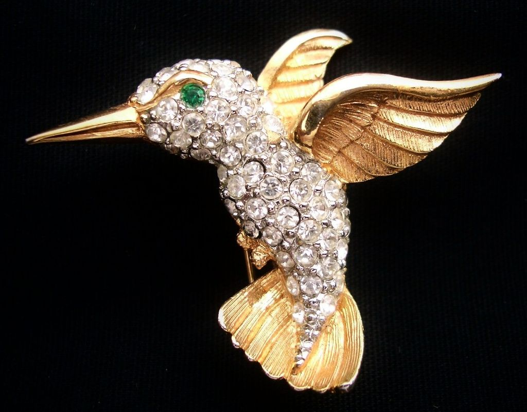 Hummingbird Pin Clear Rhinestones Embellished Gold Tone