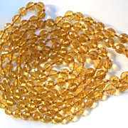 SALE Extra Long Vintage Faceted Crystal Bead Necklace Amber Colored Hand Knotted