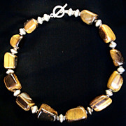 Beautiful Chunky Tigers Eye Necklace with Sterling Silver Beads