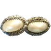 Extra Large Whiting & Davis Mother of Pearl Clip On Earrings! Fab