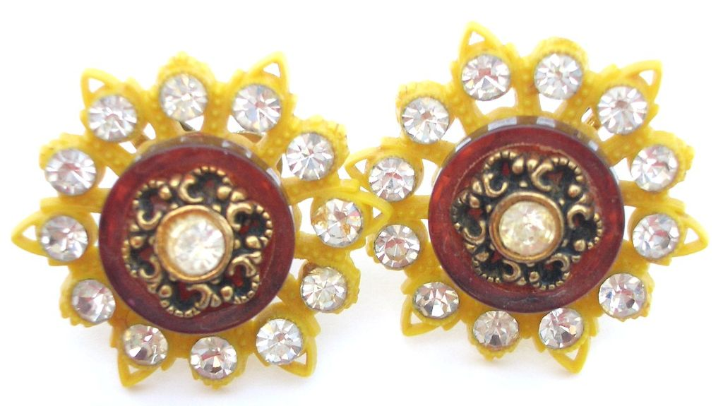 Vintage Yellow Plastic Earrings with Rhinestone Accents  Screw backs