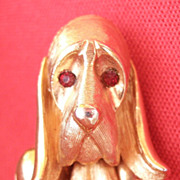 Vintage Marvella Dog Pin Hound Dog Gold tone