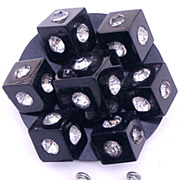 SALE Unique Early Plastics Black Q-Bert Style Brooch and Earrings! Stunning!
