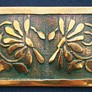 SALE Vintage Brass Pin Flowers with Etching