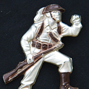 Vintage Early Plastics Military Soldier Pin