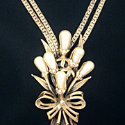 Rare Ravana Necklace Faux Pearls Gold Tone