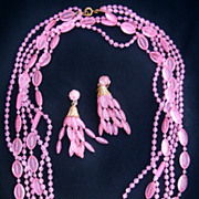 SALE Vintage Pink Plastic Bead Necklace and Earring Set