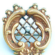Spectacular Dimensional Victorian Gold Filled Pin with Seed Pearl