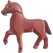 SALE Vintage Carved Wood Horse Pin Figural Pin