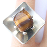 Jorgen Jensen Denmark Modernistic Ring with Tigers Eye Stone