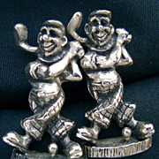 "RARE Signed ""Handsom"" Figural Cufflinks Golfer Men"