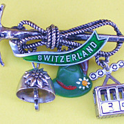 SALE Switzerland Charm Pin Silver Tone and Green