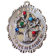 SALE Stunning 1967 Sterling Silver M&M Gemstone Tree Pendant