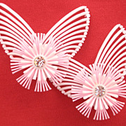 Big Vintage 50's Soft Plastic White and Pink Earrings Clip Style