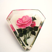 Vintage Reversed Carved Lucite Pin Pink Rose
