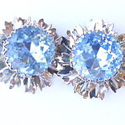 Large Vintage Earrings with Big Blue Rhinestone centers Silver Tone