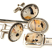 Beautiful Dendridic Agate cufflinks, money clip and tie clip