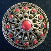 SALE Vintage Ornate 800 Silver Pin with Red Stone Cabochons Jade