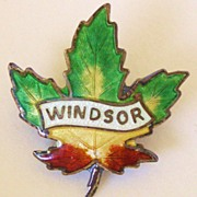 SALE Vintage Canadian Winsor Maple Leaf Sterling and enamel pin