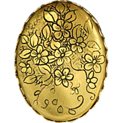 Spectacular vintage gold toned hand painted flower pin signed Payton