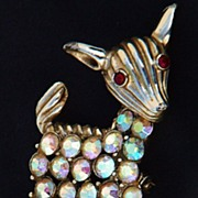Beautiful B.S.K. Signed Deer Pin with Aurora Borealis Rhinestones