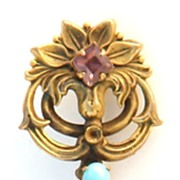 Beautiful Vintage Key Pin with Rhinestones, Cabochons and Simulated Pearls